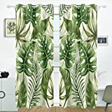 COOSUN Motif feuilles de palmier Rideaux occultant occultant Isolation thermique Polyester Grommet Top Store Rideau pour chambre à coucher, salon, 2Panel (55W X 84L pouce)