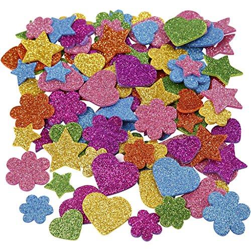 Goma EVA, dia: 19+29 mm, estrella, corazón , flor, 800surtido