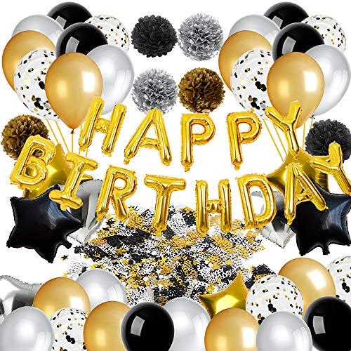 ko Schwarz und Gold,Alles Gute zum Geburtstag Banner Sterne Herz Folienballons Geburtstag Ballons,Tissue Papier Pom Poms, Schwarz und Gold Party Dekorationen ()