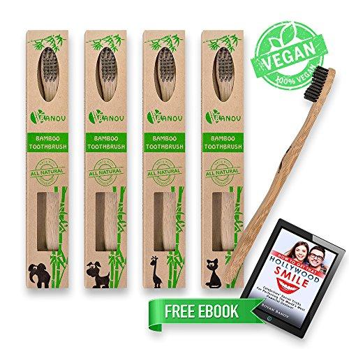 Banov Brush - Spazzolini in bambù di alta qualità, ecologici,con setole morbide al carbone, 100% vegano e senza BPA, dimensioni medie (4pezzi)