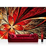 Vlies Fototapete 300x210 cm PREMIUM PLUS Wand Foto Tapete Wand Bild Vliestapete - YELLOW AND RED FLORAL ORNAMENT - Ornament abstrakt 3D Wand Rot Gelb Hintergrund - no. 115