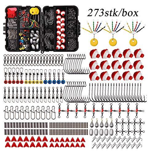 Shaddock 273stk Angelzubehör Set mit Angelhaken Wirbel Perlen Sinker Gewichte, Kreuzlinie Laufwirbel, Drehknopf, Platinen, Angelperle mit Tackle Box