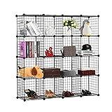BASTUO 16-Cubes DIY Draht Aufbewahrung Schrank Bücherregal Regal Körbe Modular Cubes, Closet für Toys. Bücher, Kleidung, schwarz