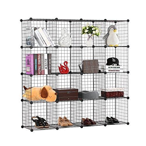 BASTUO 16-Cubes DIY Draht Aufbewahrung Schrank Bücherregal Regal Körbe Modular Cubes, Closet für Toys. Bücher, Kleidung, schwarz -
