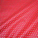 Stoff Baumwolle Acryl Punkte klein rot weiß Regenjacke