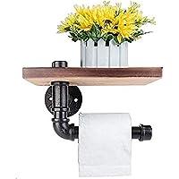 Porte-papier toilette Étagère murale décorative - Style industriel - Tuyau en acier - Avec étagère en bois pour…