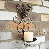 Cast Iron Wall Mounted Stags Head Deer Antlers Tea Light Pillar Candle Plate Holder