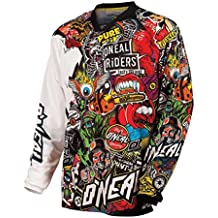 O'Neal Mayhem Crank Jersey Motocross, color Negro/Multicolor Enduro MTB Cross DH, 0023C-10 - M