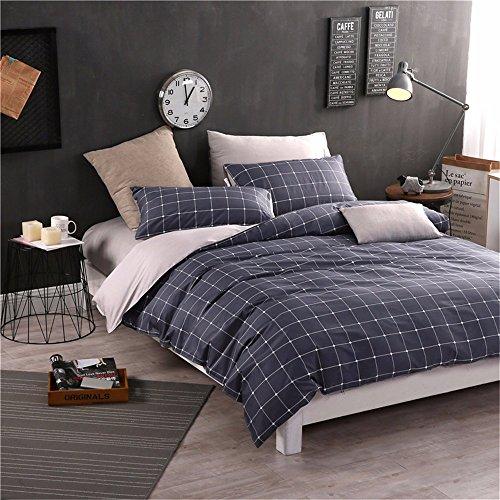 Bettwäsche vier-Stück Bettbezug Blatt Kissenbezug 1,8 M (6 Zoll) Bett Floral Plaid-Serie Baumwolle Twill reaktiven Druck, C