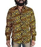 70er Wellen Hippie Look Hemd Gelb Schwarz XL