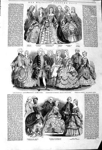 Old Antiker Druck 1845Königin Kostüm Ball Herzogin von Duke-Lord Lady (Lord Lady Und Kostüme)