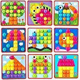GoAppuGo Creative Activity Toys For 1 2 3 Year Old Boys Girls Kids Babies (10 Design Cards And 40 Color Ful Large Buttons), Puzzles For Kids, Educational Learning Toys, Baby Birthday Gifts