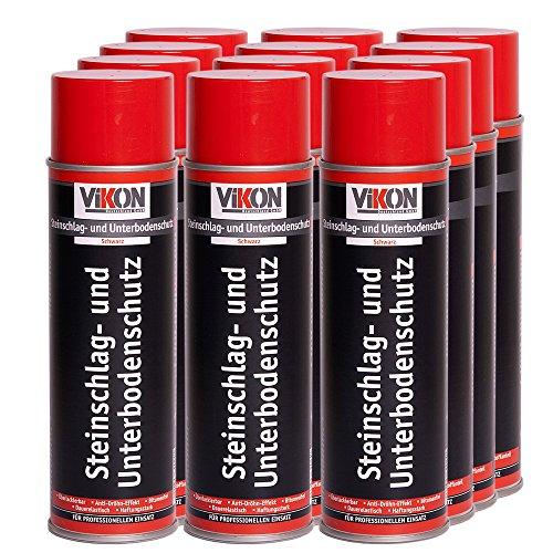 12 Dosen VIKON Steinschlag-Unterbodenschutz-Spray Schwarz 500 ml, überlackierbar