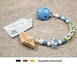 Veilchenwurzel an Schnullerkette mit Namen | natürliche Zahnungshilfe Beißring für Babys | Schnullerhalter mit Wunschnamen - Jungen Motiv Bär in blau