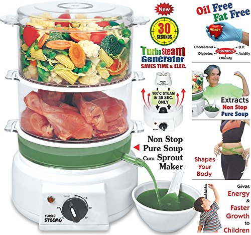 Steemo Multi Steam Cooker With Non Stop Soup Cum Sprout Maker And New 30 Sec. Turbo Steam Generator