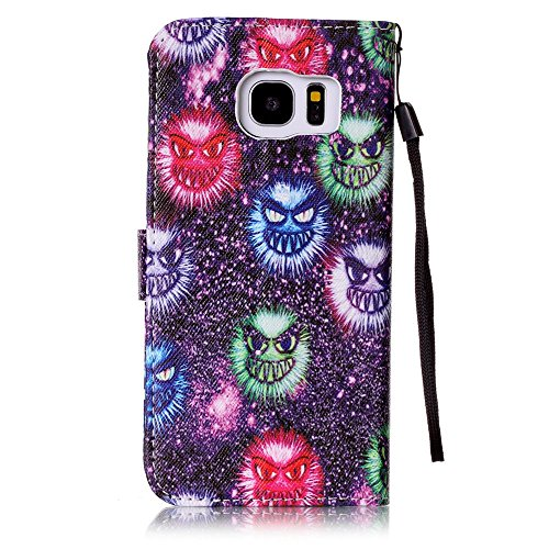 Samsung Galaxy S7 custodia a portafoglio [con protettore schermo gratuito], Mo-beauty ® Samsung Galaxy S7 Premium custodia a portafoglio, in pelle PU Full Body design stile design Flip magnetica stacc Fireworks