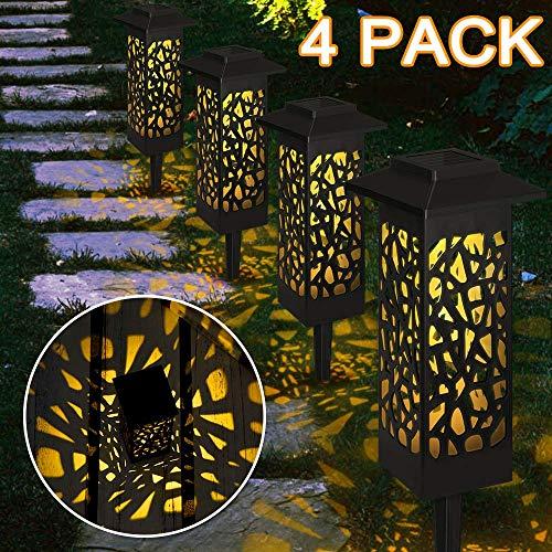 4 Stück Gartenleuchte Solar, Vegena Gartenbeleuchtung mit Erdspieß Solarleuchte Garten Gartenlampe IP65 Wasserdicht LED Wegbeleuchtung Solarlampen für Außen Terrasse Rasen Hinterhöfe Wege