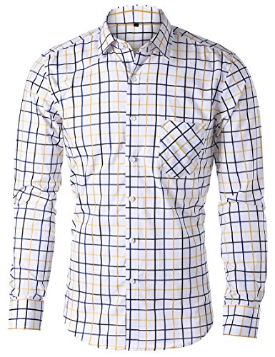JEETOO Moderne Herrenhemden Gestreift Slim Fit Langarm Hemd Männer Hemd Freizeit Bügelleicht Gelb_2