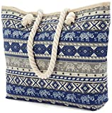Large Cotton Beach Bag with Soft Rope Handles - Aztec/Anchor/Shell (BZ4807 Blue Elephant)