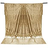 VORCOOL 1,2x1,8 Mt Shimmer Pailletten Stoff Fotografie Kulisse Shiny Drapieren Vorhang für Hochzeit Neujahr Weihnachtsfeier (Gold)