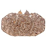 Santimon Women Clutch Bling Rose Purse Flower Rhinestone Crystal Evening Bags with Removable Strap and Gift Box Champagne