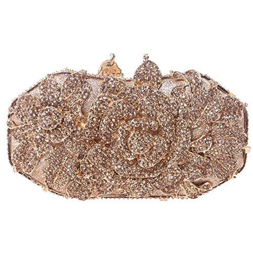 Santimon Clutch Delle Donne Rosa Fiore Borsellini Strass Diamante Cristallo Borse Da Festa di Nozze Sera Con Tracolla Amovibile 5 Colori champange