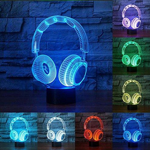 Novedad colorido DJ: forma de auriculares 3D luz nocturna lámpara de iluminación de auriculares para decoración del hogar
