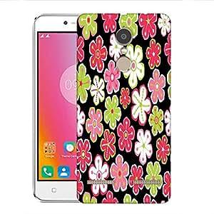 Snoogg Colorful Flowers Black Pattern Designer Protective Phone Back Case Cover for Lenovo K6 Power