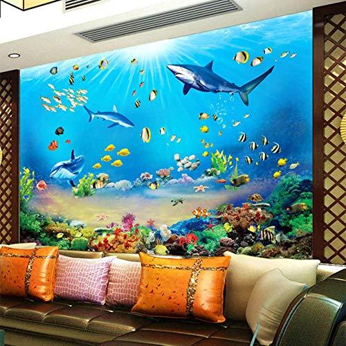 Pbldb foto wallpaper hd sottomarino mondo squalo pesci tropicali 3d murale moderno acquario soggiorno tv bambini camera da letto sfondo decorazione della parete-350x250cm