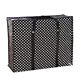 Moolecole Waterproof Woven bags Snakeskin Large Reusable Laundry Storage Bag Luggage Moving Clothing Black White Dot Medium