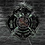 OOFAY Clock@ Wanduhr Vinyl Schallplattenuhr Vintage Familien Zimmer Dekoration- 3D LED Feuer Thema Design-Uhr Wand-Deko Schwarz/Durchmesser 30Cm