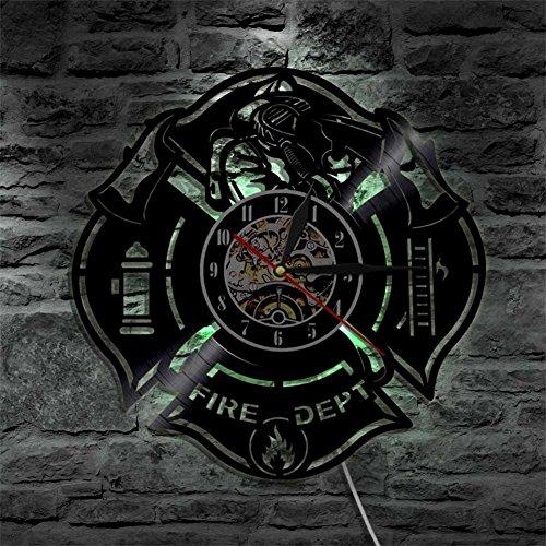 YUN Clock@ Wanduhr Vinyl Schallplattenuhr Vintage Familien Zimmer Dekoration- 3D LED Feuer Thema Design-Uhr Wand-Deko Schwarz/Durchmesser 30Cm