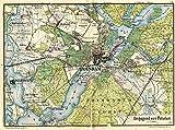 MAP ANTIQUE 1898 KIESSLIN POTSDAM AREA GERMANY LARGE REPRO