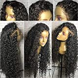 (50cm ) - 8A Unprocessed Real Brazilian Virgin Remy Human Hair Wig for Black Women Loose Deep Curly Glueless Lace Front Wig Pre Plucked Hairline 130% Density (Natural Black,50cm )