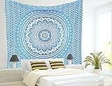 Wandteppich Wandaufkleber Böhmen Mandala Dekoration Zimmer-Tagesdecke Psychedelic Hippie, blau, one size