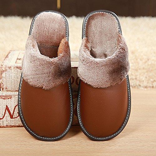 Fankou Baotou vacchetta inverno pantofole di cotone home scarpe indoor tendine di manzo fondo scarpe caldo inverno Rosa Rot