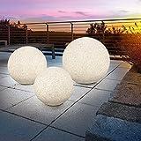 Solar Steinleuchtkugelset Mega Stone 30,40 und 50cm, echtes Steindesign, Dauer- oder Wechsellicht, 8 Lichtfarben inkl. warm- und kaltweiß, 106029