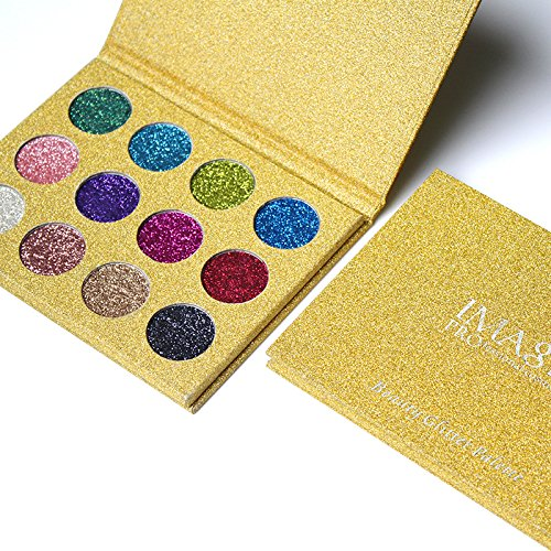 Lover Bar Makeup Pressed Glitter Eyeshadow Palette Highly Pigment Long Lasting Shimmer Sleek Party Stage Make Up Eye Shadow Professional Diamond Rainbow Sequins Powder Foiled Magnet Pallet (12 Colour-2)