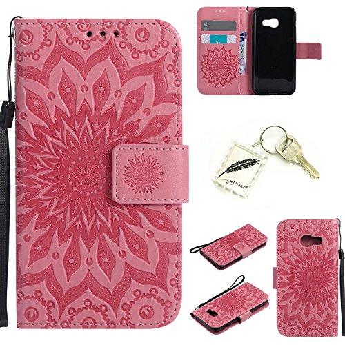 Preisvergleich Produktbild Silikonsoftshell PU Hülle für Samsung Galaxy A3 (2017) (4,7 Zoll) Tasche Schutz Hülle Case Cover Etui Strass Schutz schutzhülle Bumper Schale Silicone case+Exquisite key chain X1) #KC (1)
