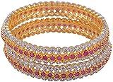 Gazal Jewels Purple, Silver, Golden Copper Bangles for Women - Set of 2, Size: 2.8 (GJB04_2.8)