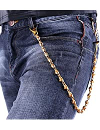 U7 Men Pants Chain Motorcycle Cool Gothic Skull Punk Jean Chain Trouser Long Wallet Purse Key Chain - 18K Gold...