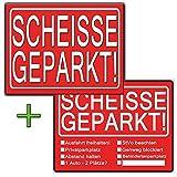 Scheisse Geparkt lustiges Set aus 2 Blöcken jeweils Rot für Autofahrer die genervt sind von Falschparker auf Privatparkplätzen, zugeparkt werden, als Geschenk zum bestenden Führerschein