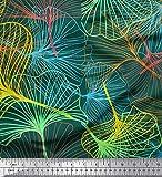 Soimoi Vert Poly Georgette en Tissu Artistique Feuilles Tissu Imprime 1 Metre 52 Pouce Large