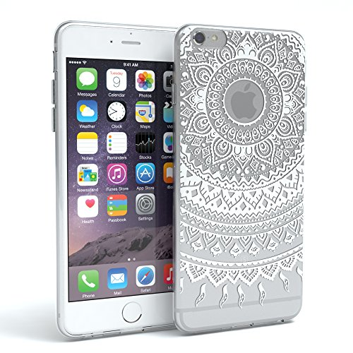 EAZY CASE Silikon Hülle Mandala Design für Apple iPhone 6, iPhone 6S I Slimcover Henna, TPU Backcover/Handyhülle, Softcase indische Sonne Transparent, Weiß