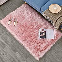 HEQUN Faux Fur Rug Soft Fluffy Rug, Shaggy Rugs Faux Sheepskin Rugs Floor Carpet for Bedrooms Living Room Kids Rooms Decor