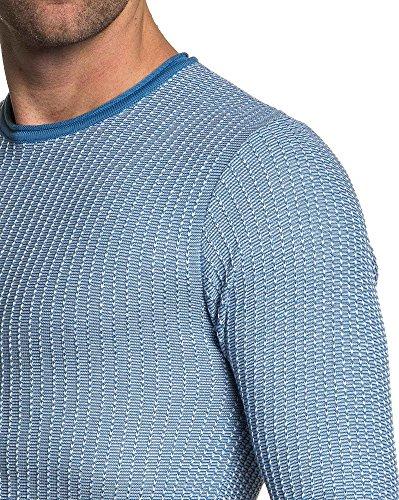 BLZ jeans - feinmaschigen engen blauen Pullover Mann Blau