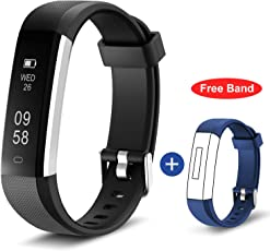 Fitness Tracker Band, HolyHigh Smart Watch Sport Band with Activity Sleep Monitor for Men Women Kids with Replacement Strap (Black + Blue Strap)