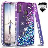 LeYi Custodia Huawei P20 Lite Glitter Cover con Vetro Temperato [2 Pack],Brillantini Diamond Sabbie Mobili Bumper Case Custodie per Huawei P20 Lite Donna ZX Purple Blue Gradient