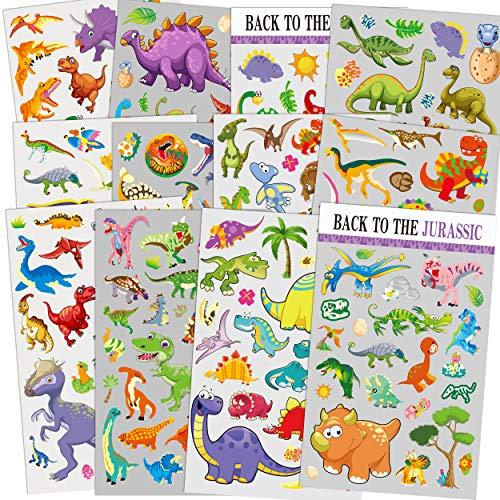 12 Blatt Dinosaurier Aufkleber für Kinder, Lehrer, Eltern, Großeltern, Kinderhandwerk, Partyartikel, Sammelalbum Machen, Belohnung Aufkleber -