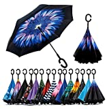 ShoppoStreet Double Layer Inverted Reversible No Drip Umbrella with C shape Handle - Multi Color